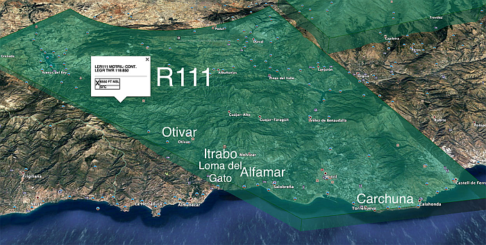 Click for full size map of Almiunecar R111 Airspace