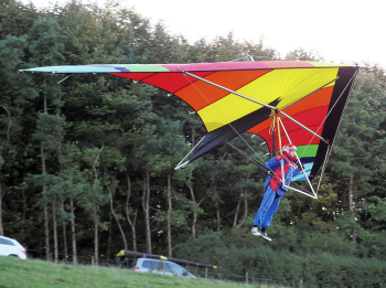 Gary Dear flying a Highway SuperScorpion Hang Glider