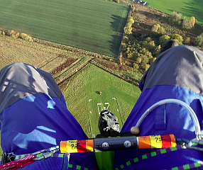Looking down the line from a parascending canopy (Courtesy Pete Brunt)